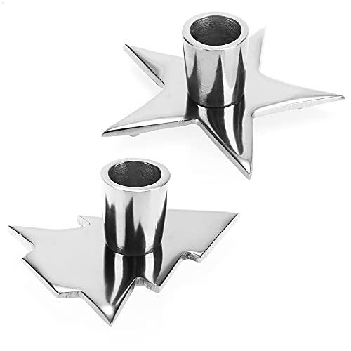 com-four® 2X portavelas con diseño navideño - portavelas con Base Plana - portavelas de una Sola Llama para Navidad [la selección varía] (2 Piezas - Motivos navideños)
