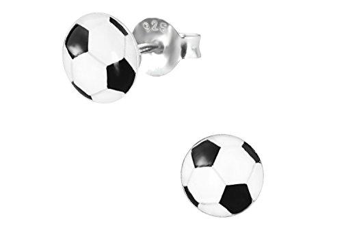 .925 Sterling Silver Hypoallergenic Soccer Ball Stud Earrings for Girls (Nickel Free)