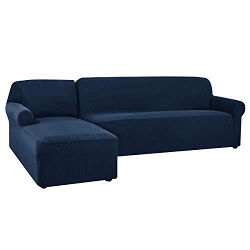 CHUN YI Funda para Sofa Chaise Long Izquierdo, Brazo Derecho, Funda de Sofa L Elástica Cómoda para Proteger el Sofá y Antimancha (Chaise Longue Izquierdo, Azul Oscuro)