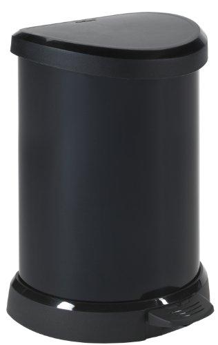 CURVER | Poubelle à pédale 20L, Noir, 30,3 x 26,8 x 44,8 cm, Plastique