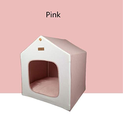 Kennel Cat Zelt Pet Kleines Haus, aus Reiner Baumwolle Warm und bequem Kleine Villa, im Winter warm und im Sommer kühl (Color : Pink)