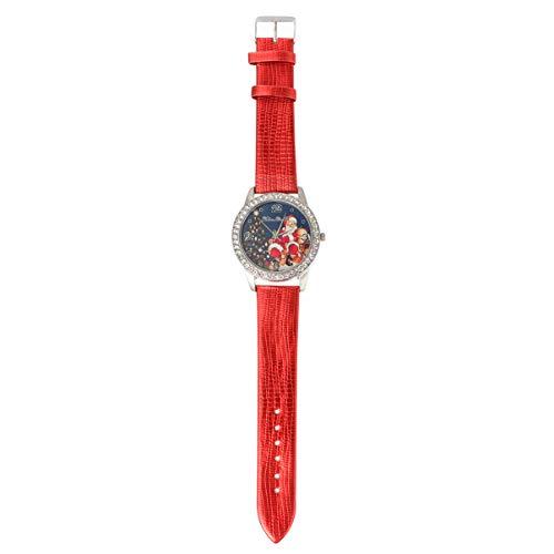 ibasenice Rojo Navideño con Estampado de Santa Claus Reloj Fácil de Leer con Correa de Cuero para Niños Mujer