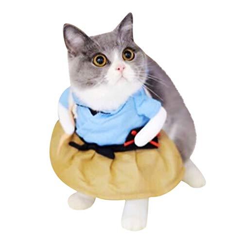 Blaue Cospaly Rollenspiel Haustierkleidung Katzenkostüm,Katzen Hunde Kleidung Seemann Krankenschwester Pirat Kaiser Kostüm,Dicker Weste Sweatshirt Mantel,Warme Glieder Pullover (XL, D)