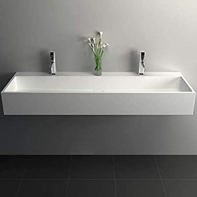Buy Weibath 47 Inch Wall Mount Double Sink Stone Resin Trough Bathroom Sink With 2 Faucet Holes Glossy White Online In Turkey B084js1hfh