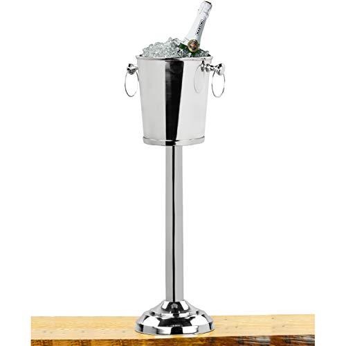 Nagina International Refroidisseur de vin sur Pied en Aluminium de première qualité, nickelé | Cave à vin et Cave avec Seau à Glace | Articles de Cuisine et de Bar