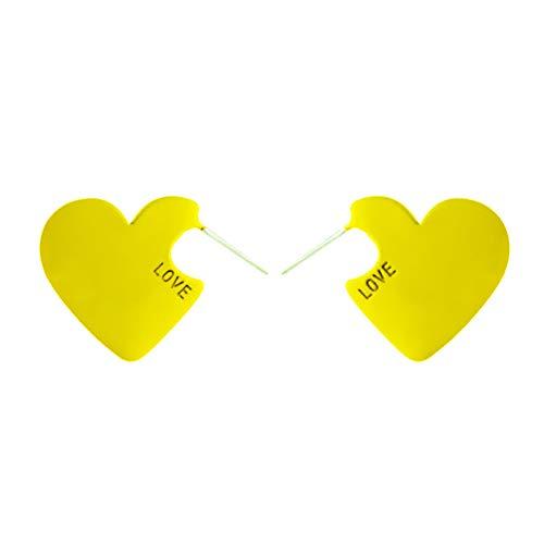 FGFDHJ Pendientes de botón en Forma de corazón Pendientes pequeños de declaración de corazón de Amor de Color Rojo para Mujer Regalo de Boda