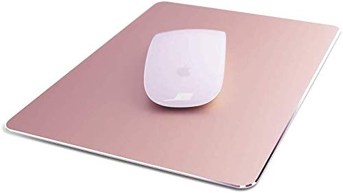 "Metal Aluminum Mouse Pad, Office and Gaming Thin Hard Mouse Mat Double Sided Waterproof Fast and Accurate Control Mousepad for Laptop, Computer and PC,9.06""x7.08"",Rose Gold"