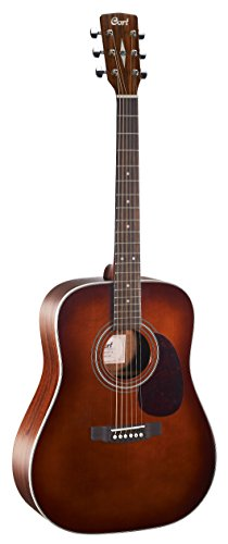 Cort EARTH70BR Dreadnought Acoustic Guitar Solid Spruce Top, Brown