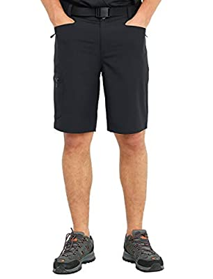 MIER Men's Stretchy Hiking Shorts Nylon Quick Dry Cargo Shorts with 5 Pockets, Water Resistant, Lightweight, 32, Black