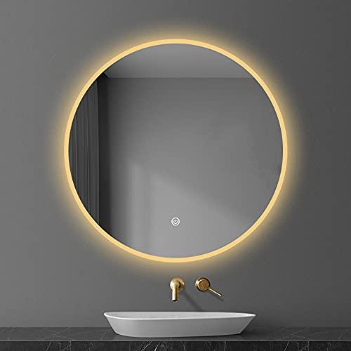 Luz cálida/luz Blanca Espejo de luz LED Redondo Inteligente Espejo de baño Espejo de baño Montado en la Pared con luz Espejo de Maquillaje Seguridad Luz Blanca a Prueba de explosiones 6500K Luz cá