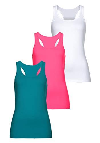 MONYRAY Damen Unterhemden Tank Top Figurformende Ringerrücken aus Baumwolle 3er Pack(grau/weiß/rot, XL)