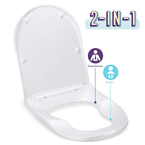 WC Sitz mit Absenkautomatik, HONBOO D-Form WC Deckel mit Kindersitz, Klobrille, Toilettensitz mit langsamer Absenkung und Soft-Close Funktion