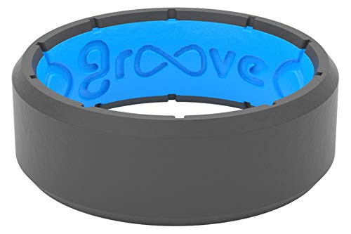 Groove Life Silicone Wedding Ring for Men - Breathable Rubber Rings for Men, Lifetime Coverage, Unique Design, Comfort Fit Mens Ring - Edge Original Deep Stone Grey Size 10