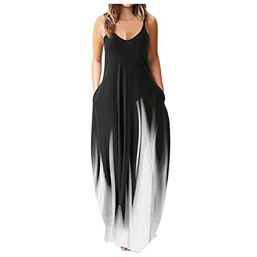 PcLeam Damen Kleider Übergröße Kleid Ohne Arm Tie Dye Mit Rüschen V-Ausschnitt Sommer Kleider Elegant Sleeveless Beach Dress Maxi Dress(Weiß,L)