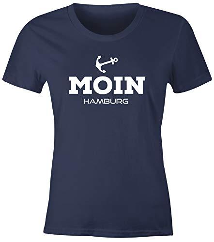 MoonWorks® Damen T-Shirt Moin Hamburg Anker Maritime Damen Slim Fit Navy XXL