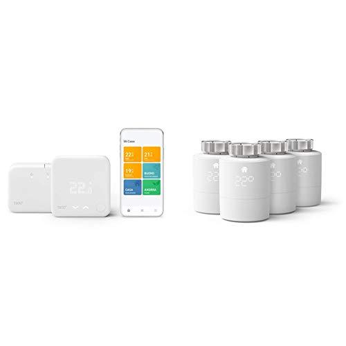 tado° Termostato Inteligente Inalámbrico Kit de Inicio V3+ - Control Inteligente de calefacción + Cabezal Termostático Inteligente - Pack Quattro, Accesorio para Control de Habitaciones múltiples