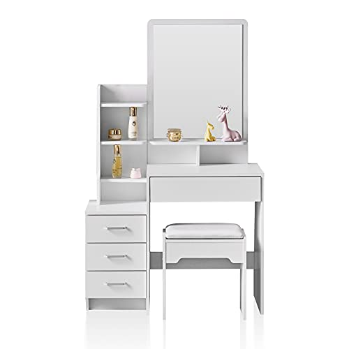 TUKAILAi White Dressing Table with 4 Drawers, a Mirror and 7 Shelves Corner Makeup Desk Dressing set with Stool Bedroom Dresser