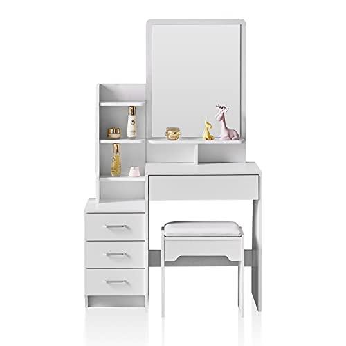 TUKAILAI - Tavolo da toeletta con 4 cassetti, specchio e 7 ripiani angolari, con sgabello, camera da letto