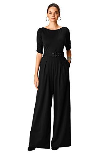 eShakti FX Cotton Knit Belted Palazzo Jumpsuit 2X-22W Black