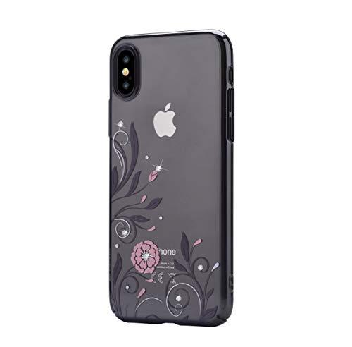Devia Petunia case iPhone X/XS TPU hoes graveertechniek, ultradunne mobiele telefoon beschermhoes schaal schokbestendig iPhone X/XS telefoonhoes bescherming tas iPhone X/XS cover mozaïek bloemenpatroon, iPhone X/XS, zwart