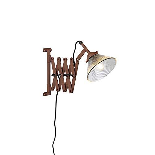 QAZQA - Industrie | Industrial Vintage ausziehbare Wandleuchte Rost mit Glaslampenschirm - Scissors Glas | Wohnzimmer | Schlafzimmer | Küche - Stahl Länglich | Organisch - LED geeignet E27