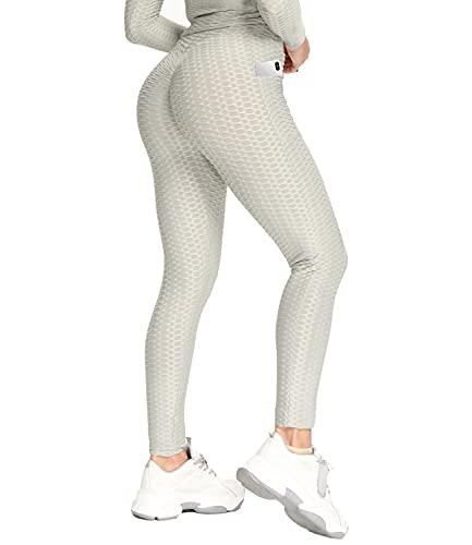 DUROFIT Anticellulite Leggings Push up con Tasche da Donna Yoga Pants Scrunch Elastica Pantaloni Sportivi Ginnastica Fitness Slim Allenamento per Palestra Grigio L