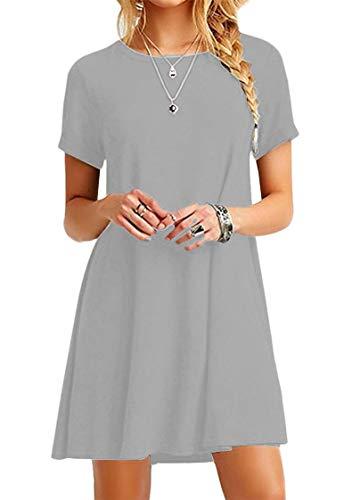 TYQQU Damen T-Shirt Kleid Übergröße Minikleid Kurzärmliges Rundhals Tunika Kleid Sommerkleid HELLGRAU M