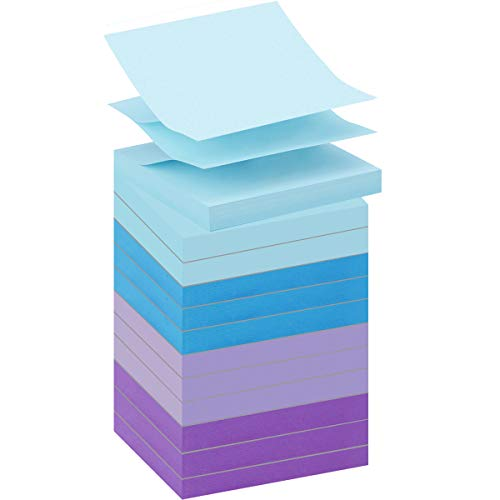 OPCOL Pop-up Sticky Notes 3 x 3 in, Accordion-Style Self-Stick Notes for Dispensers, 12 Pads/Pack, 100 Sheets/Pad, Assorted Watercolors
