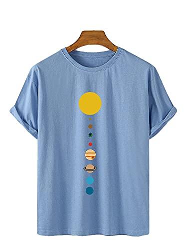 T-Shirt Hombre Manga Corta Verano Cuello Redondo Estampado Moda Hombre Shirt Personalidad Básica Suelta Hombre Ocio Shirt Cómoda Hombre Ropa De Calle J-Blue 3 L