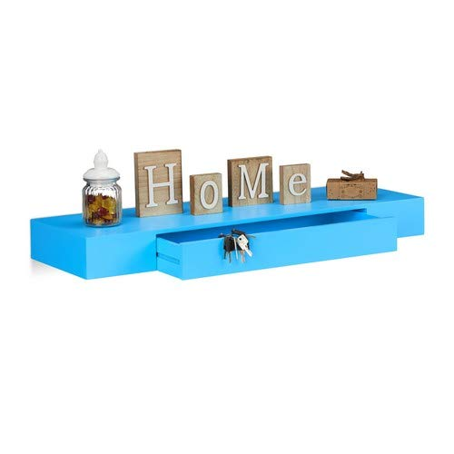 Relaxdays wandrek met lade, hangend, design, 25 cm diep, woonkamer, wandlade, wandboard, blauw