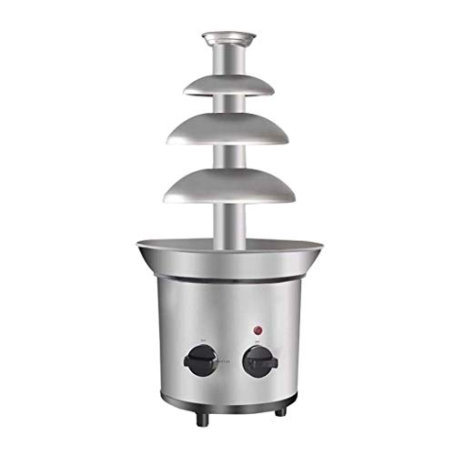 HYY Schokoladenbrunnen-Maschine, 4-stufiger Edelstahl-Schokoladenfondue-Brunnen-Wasserfall-Käse-Schmelzmaschine-Küchengerät für Partei-Hochzeit