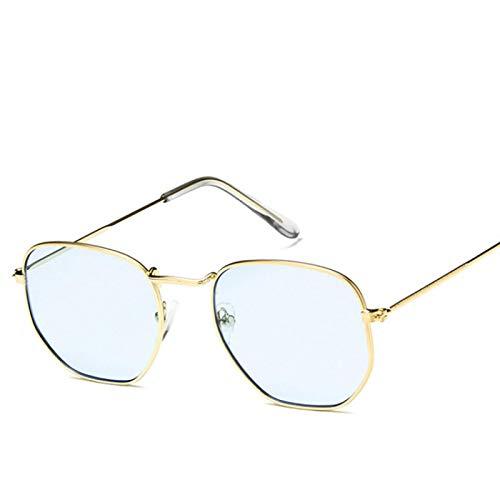 Polygon Clear Square Gafas De Sol Mujer Moda Diseño De Marca Lady Vintage Metal Marco Pequeño Gafas De Sol Lisas Uv400 Azul