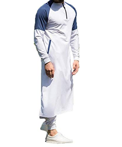 PDYLZWZY Herren Kapuzenpullover, Muslimisches Kleid, islamisches Kaftan, Abaya Thobe Männer Thobe Mens Arabic Muslimische Kleidung (Weiß, L)
