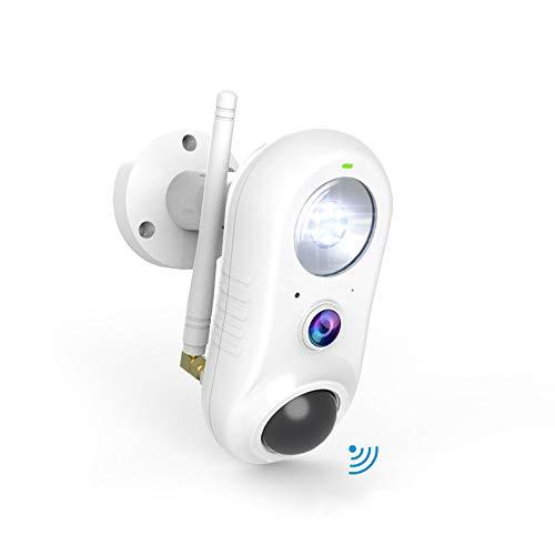 Telecamera Wi-fi Interno Esterno con Luce,NIYPS Wifi IP66 Full HD 1080P Videocamera Sorveglianza PIR Rilevazione Umana, Audio Bidirezionale e Infrarossi,Telecamera IP Wireless Funziona con Alexa