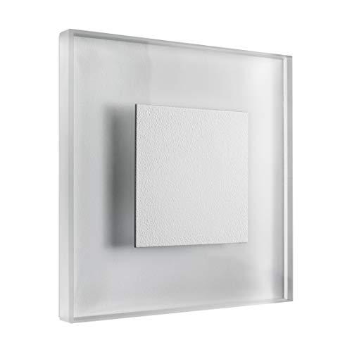 SET LED Treppenbeleuchtung Premium SunLED Large Warmweiß 230V 1W Echtes Glas Treppenlicht mit Unterputzdose Treppen-Stufen-Beleuchtung Wandeinbauleuchte (ALU: Weiß; LICHT: Warmweiß, 7 Stück)