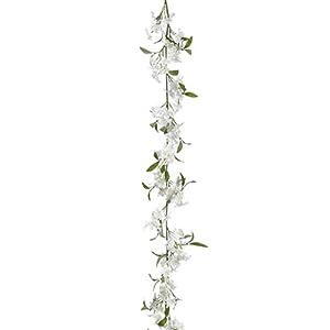 Silk Flower Arrangements 6' Azalea Silk Flower Garland -White (Pack of 6)