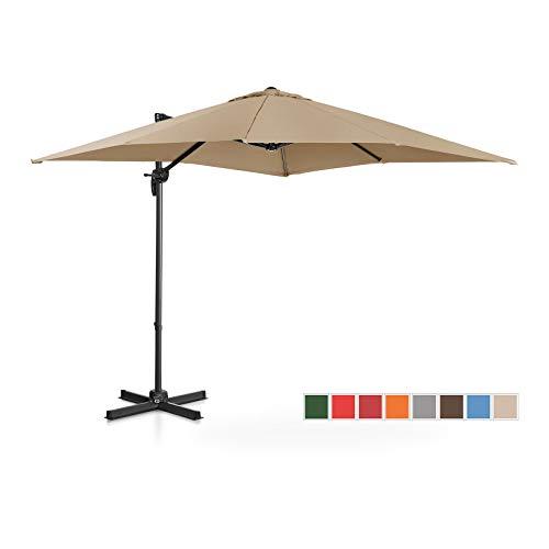 Uniprodo Sombrilla Tipo Semáforo Parasol Colgante Uni_Umbrella_2SQ250TA (Pantalla Cuadrada, 250 x 250 cm, Giratoria, Color Topo)