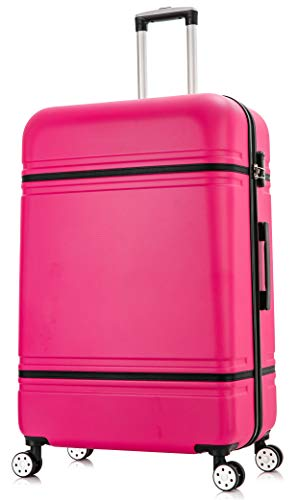 DK Luggage Starlite ABS DK147 Large 28' Hardshell Suitcase 4 Wheel Spinner Pink