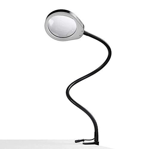 ENJOHOS Lupenleuchte mit LED-Tageslicht und Klemme,Lupenlampe Tischlupe Schreibtischlampe für handwerkliche Arbeiten,Lesen,Arbeit,Nähen,Hobbys,Sehschwäche (Schwarz, 8X)