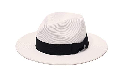 Pineapple&Star Sun Straw Fedora Beach Hat Fine Braid UPF50+ for Both Women Men (Small, SnowWhite_BowBK)