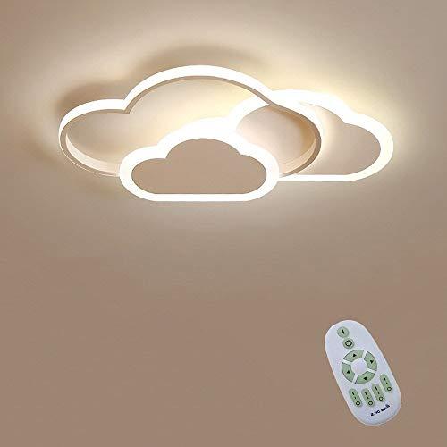 42W LED De Luz De Techo, Luz De Techo Creative Cloud, Regulable A Distancia Control De 3000K~6000K, L52*W31*H6Cm Nube Blanca Luz De Techo, for La Habitación De Los Niños Dormitorio Y Sala De Estar