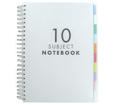 Paperchase A4 10 Subject Notizbuch mit transluszenten Registern, 150 Blatt (300 Seiten) weißes, liniertes Papier