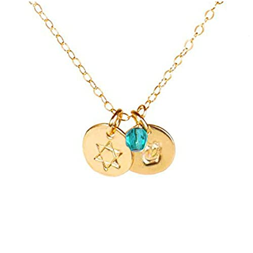 EFYTAL Tiny Star of David Necklace with Personalized Hebrew Initial and Birth Month Charm, Dainty Gold Filled Hanukkah Gift, Birthday Gifts for Jewish Women
