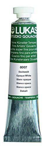 Lukas Designer's Gouache Master Quality Opaque Watercolor Paint - Single 20 ml Tube - Opaque White