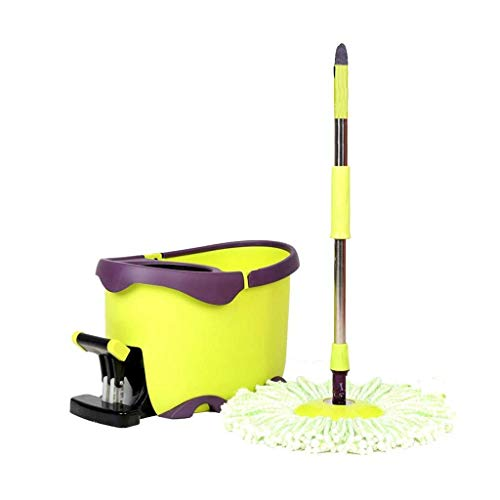 IVQAPP Spinning and Bucket Cleaning Set Non-Slip Pedal Hand Pressure 2 in 1 Adjustable Household Green Head *2 Yellow a