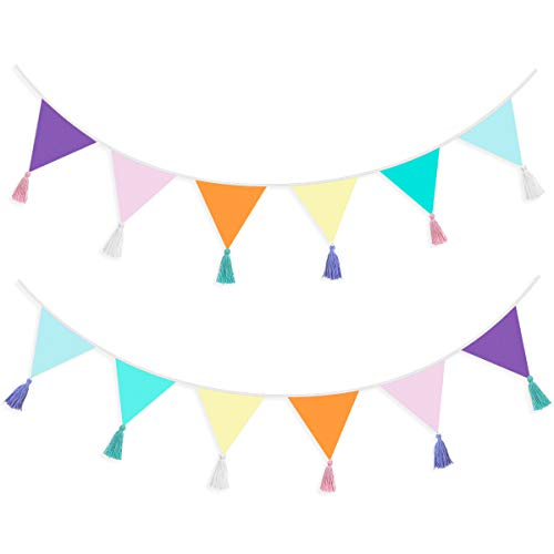 pinkblume 12Pcs/13Ft Fabric Triangle Flags Cotton Tassel Banner, Colored Bunting Pennant Garland for Home, Kids Room, Birthday Parties, Baby Shower,Festivals,Nursery,Outdoor Hanging Decoration