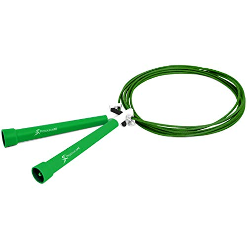 Prosource Fit Speed Jump Rope 10' Adjustable Length, Plastic Handles, Fast Turning for Cardio, Boxing, Green