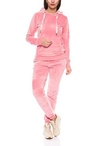 Crazy Age Damen Anzug Freizeit Sport Alltag | Samt Nicki Velvet | Kuschelig Sportlich Elegant | XS - XL (Rosa, M)