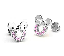 Brand new rose gold plated sterling silver mickey mouse stud earrings with 18k gold plated copper children earring safe back Metal Stamp ; 925 sterling silver . Hypoallergenic Stud Earrings perfect to sensitive ear, no harm to your skin. Earrings siz...