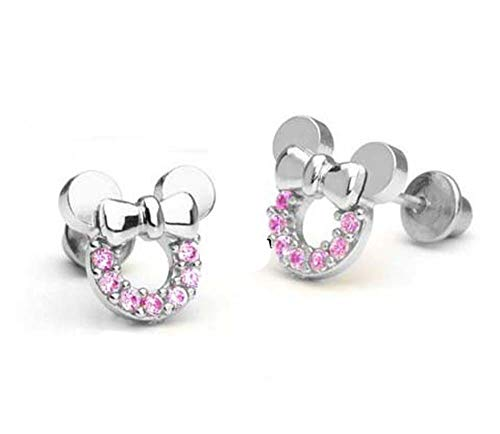 findout sterling silver Cubic Zircons hollow Mickey Mouse earrings .for women girls .(f1696)